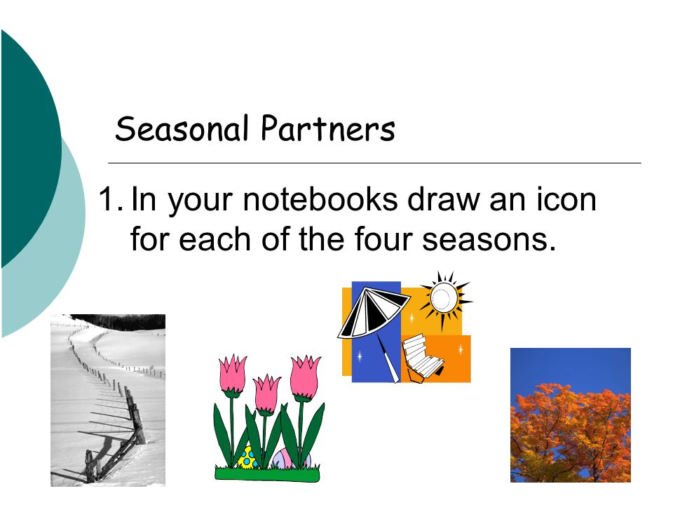 Seasonal Partners 1.In your notebooks draw an icon for each of the four seasons.