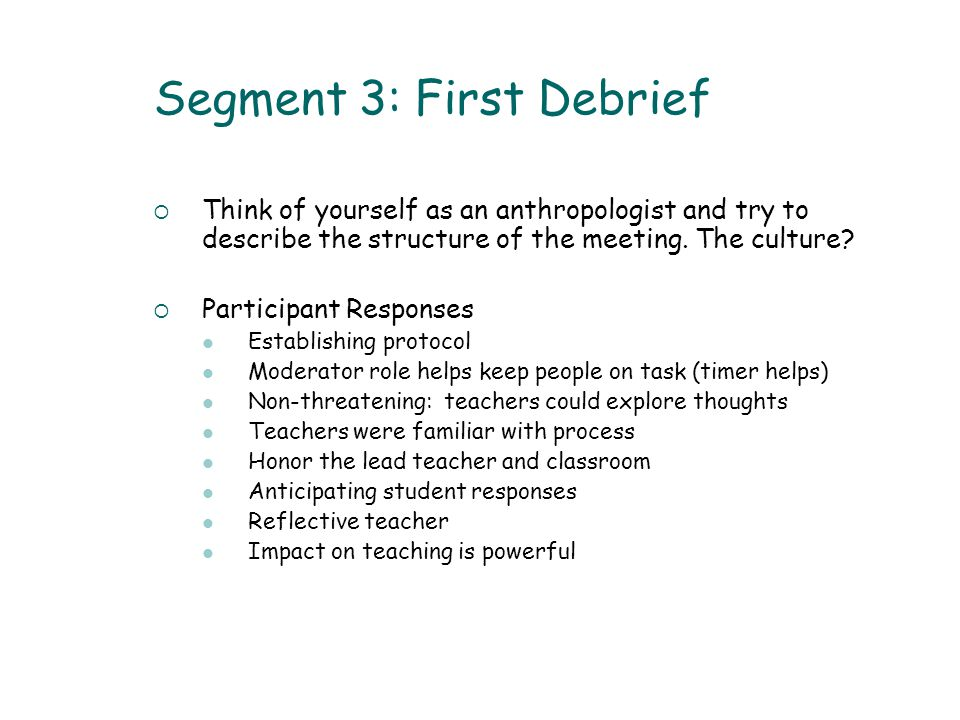 Segment 3: First Debrief  Think of yourself as an anthropologist and try to describe the structure of the meeting.