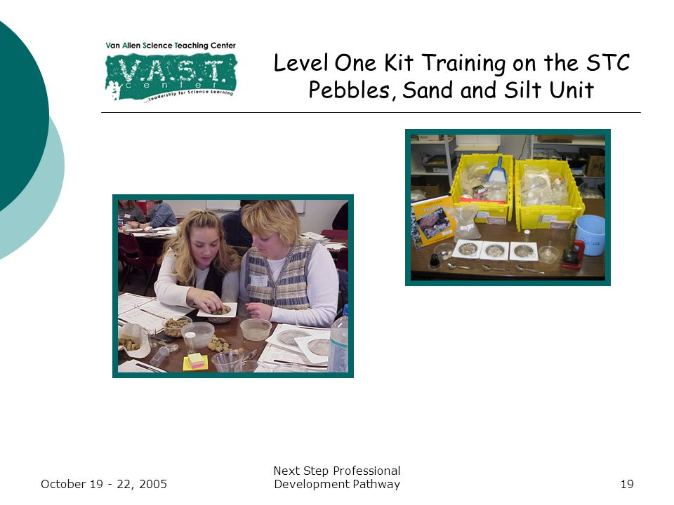 October 19 - 22, 2005 Next Step Professional Development Pathway19 Level One Kit Training on the STC Pebbles, Sand and Silt Unit