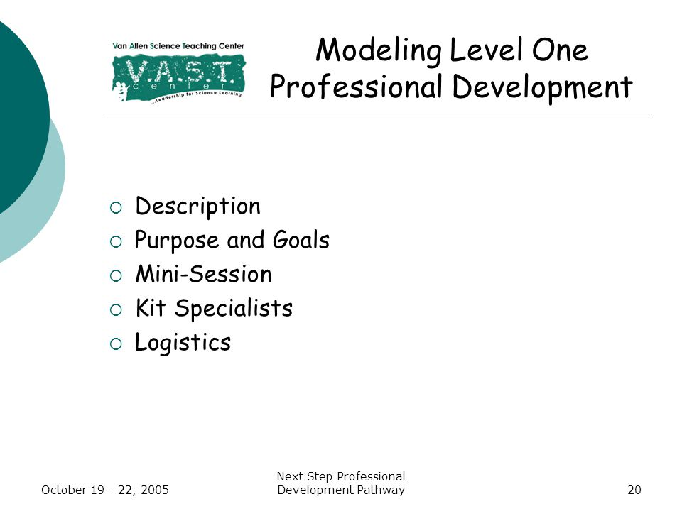 October 19 - 22, 2005 Next Step Professional Development Pathway20 Modeling Level One Professional Development  Description  Purpose and Goals  Mini-Session  Kit Specialists  Logistics