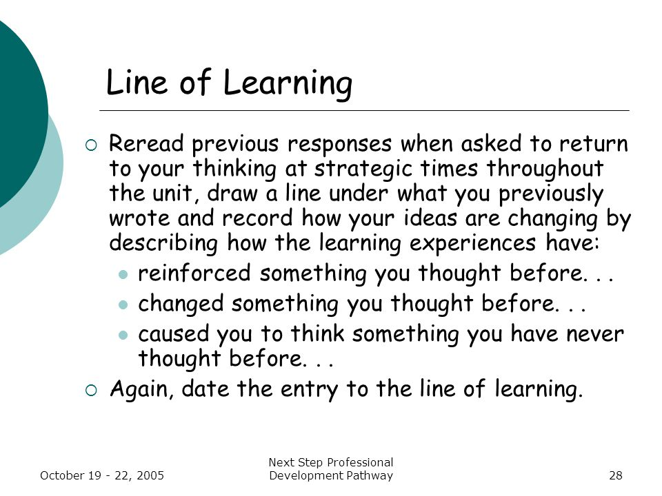 October 19 - 22, 2005 Next Step Professional Development Pathway28 Line of Learning  Reread previous responses when asked to return to your thinking at strategic times throughout the unit, draw a line under what you previously wrote and record how your ideas are changing by describing how the learning experiences have: reinforced something you thought before...