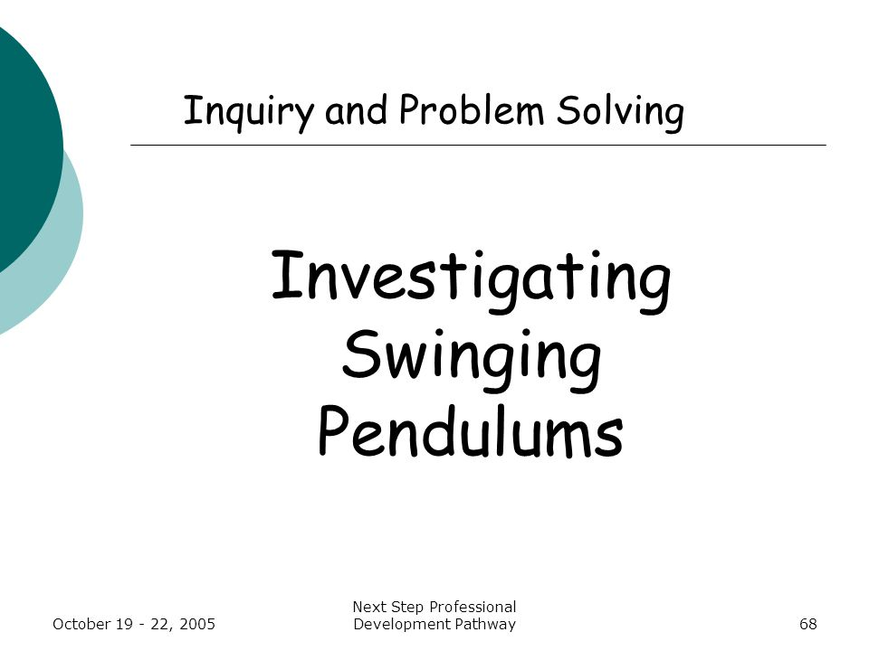 October 19 - 22, 2005 Next Step Professional Development Pathway68 Inquiry and Problem Solving Investigating Swinging Pendulums