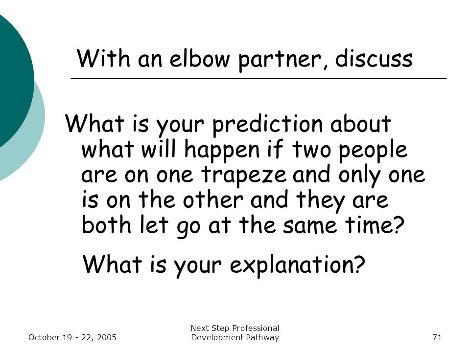 October 19 - 22, 2005 Next Step Professional Development Pathway71 With an elbow partner, discuss What is your prediction about what will happen if two people are on one trapeze and only one is on the other and they are both let go at the same time.