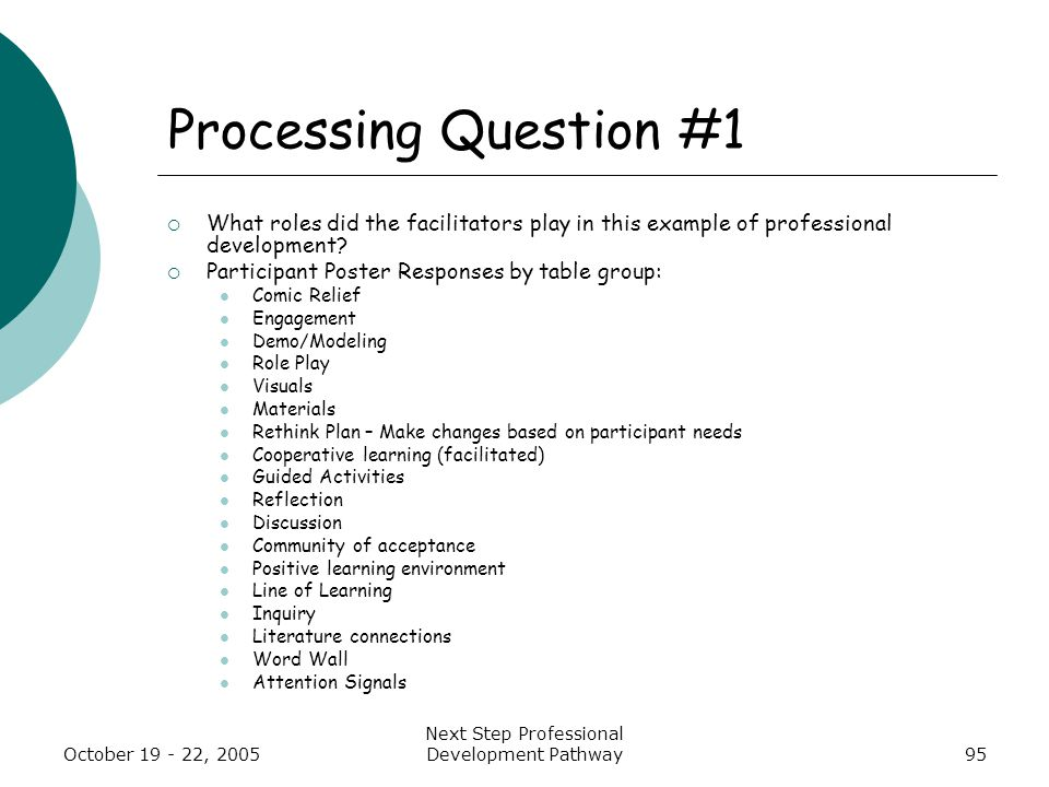 October 19 - 22, 2005 Next Step Professional Development Pathway95 Processing Question #1  What roles did the facilitators play in this example of professional development.