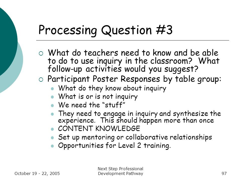 October 19 - 22, 2005 Next Step Professional Development Pathway97 Processing Question #3  What do teachers need to know and be able to do to use inquiry in the classroom.