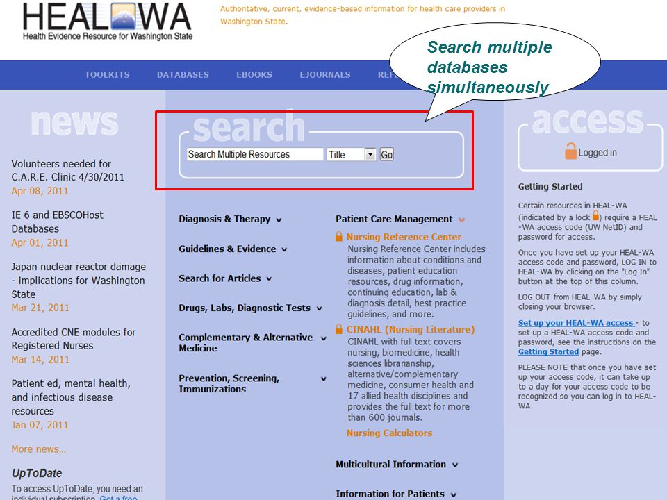 Search multiple databases simultaneously