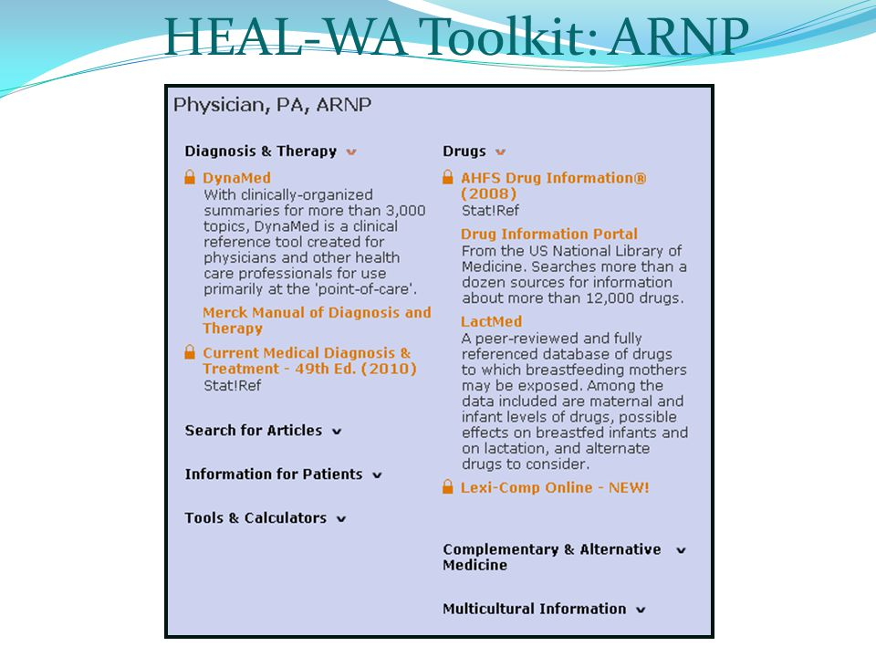 HEAL-WA Toolkit: ARNP