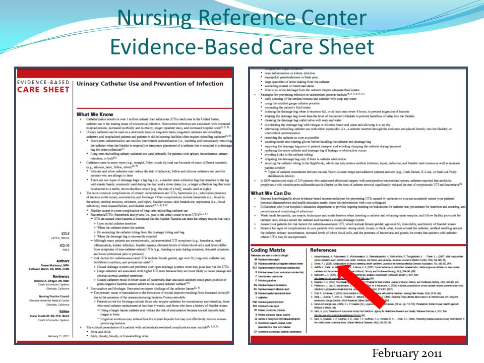 Nursing Reference Center Evidence-Based Care Sheet February 2011