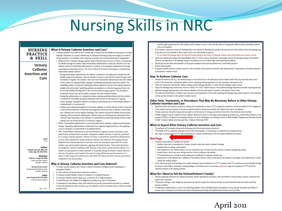 Nursing Skills in NRC April 2011