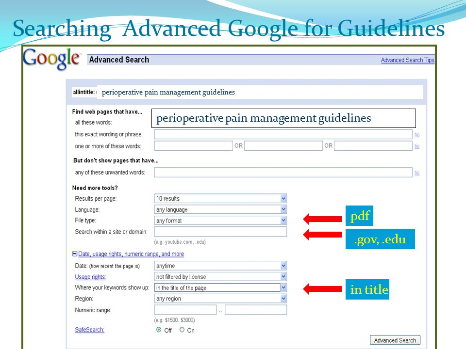 Searching Advanced Google for Guidelines.gov,.edu pdf in title perioperative pain management guidelines Searching Advanced Google for Guidelines