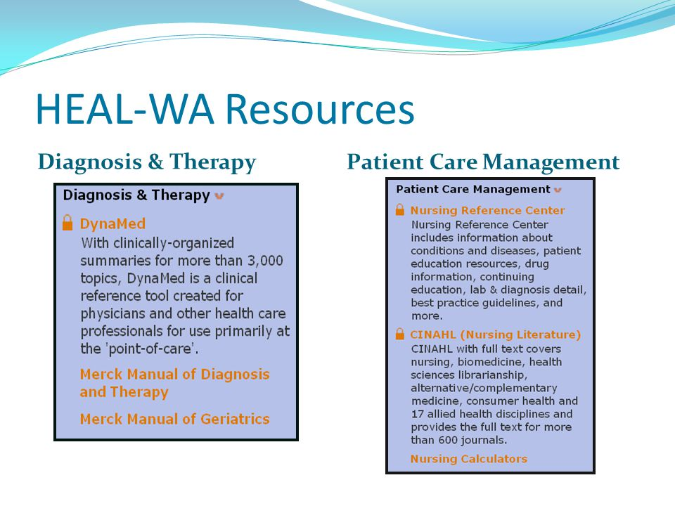 HEAL-WA Resources Diagnosis & Therapy Patient Care Management