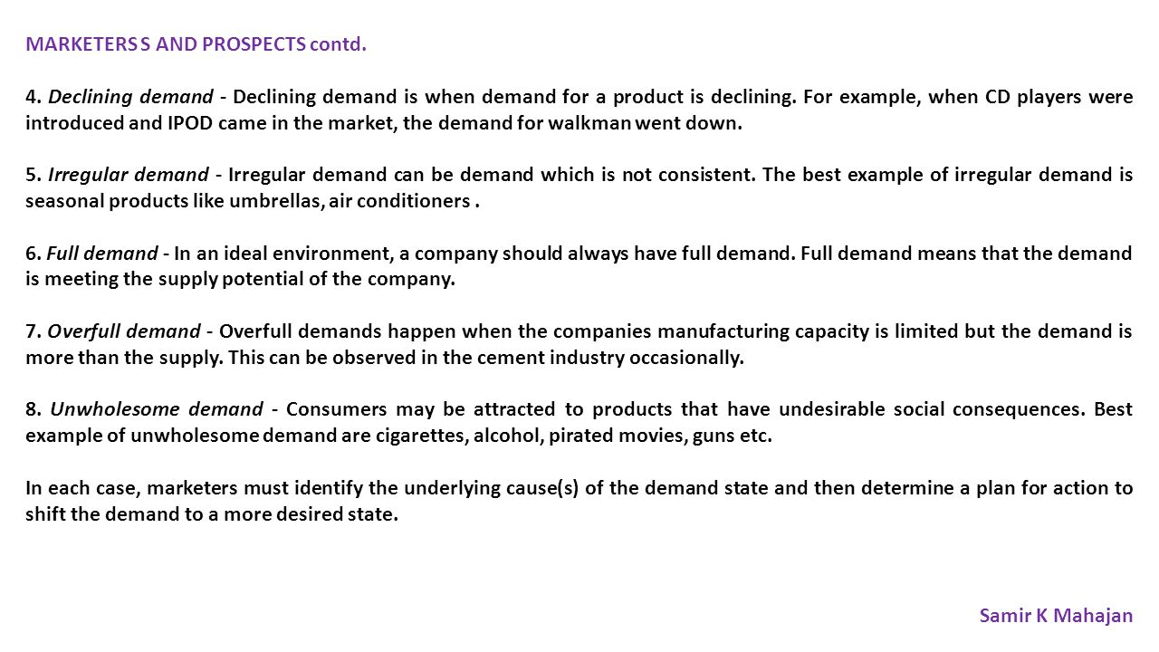 MARKETERS S AND PROSPECTS contd.4.