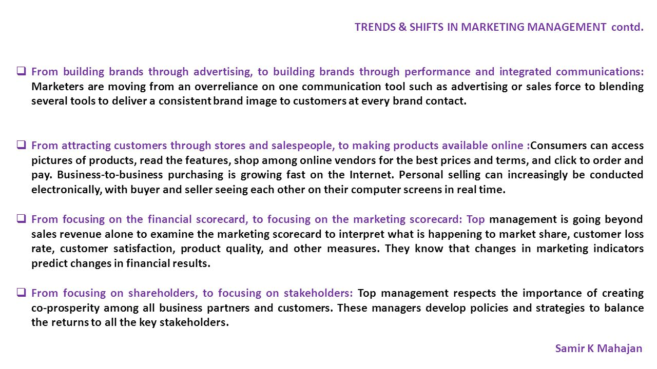 TRENDS & SHIFTS IN MARKETING MANAGEMENT contd.