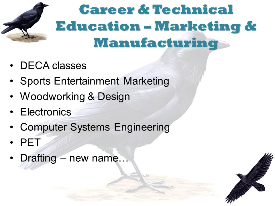 Career & Technical Education – Marketing & Manufacturing DECA classes Sports Entertainment Marketing Woodworking & Design Electronics Computer Systems Engineering PET Drafting – new name…
