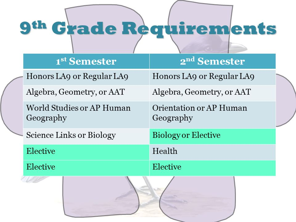 9 th Grade Requirements 1 st Semester2 nd Semester Honors LA9 or Regular LA9 Algebra, Geometry, or AAT World Studies or AP Human Geography Orientation or AP Human Geography Science Links or BiologyBiology or Elective ElectiveHealth Elective