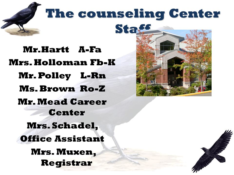 The counseling Center Staff Mr.Hartt A-Fa Mrs. Holloman Fb-K Mr.
