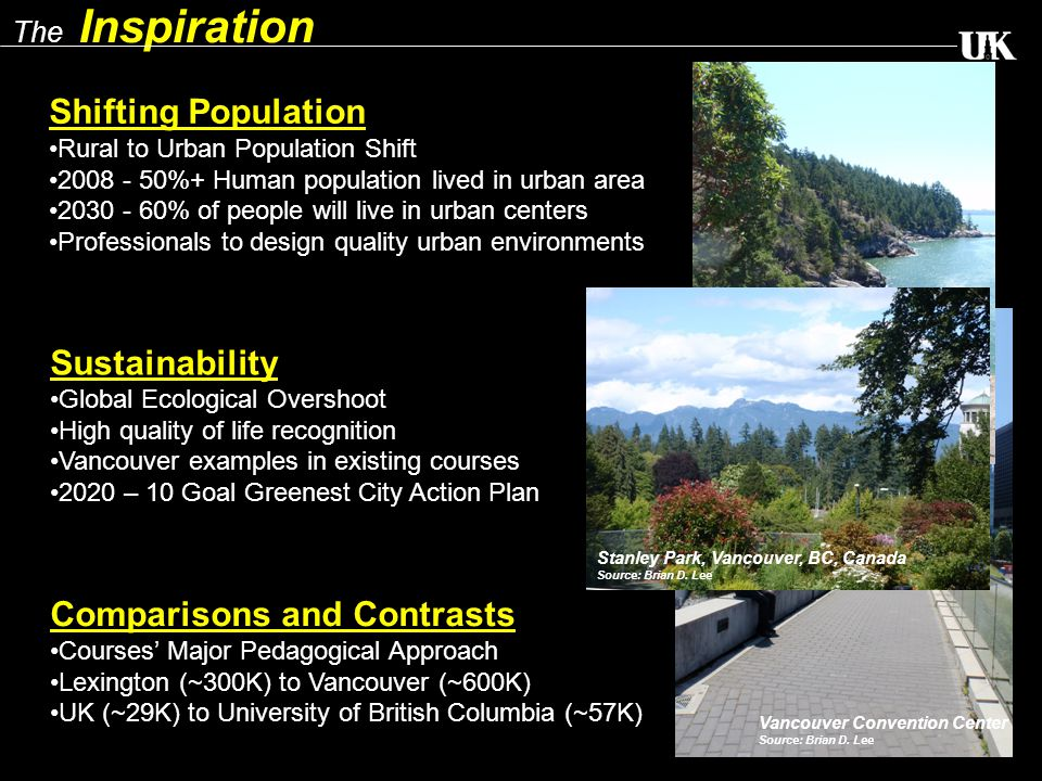 The Inspiration Shifting Population Rural to Urban Population Shift 2008 - 50%+ Human population lived in urban area 2030 - 60% of people will live in urban centers Professionals to design quality urban environments Sustainability Global Ecological Overshoot High quality of life recognition Vancouver examples in existing courses 2020 – 10 Goal Greenest City Action Plan Comparisons and Contrasts Courses' Major Pedagogical Approach Lexington (~300K) to Vancouver (~600K) UK (~29K) to University of British Columbia (~57K) Vancouver Convention Center Source: Brian D.