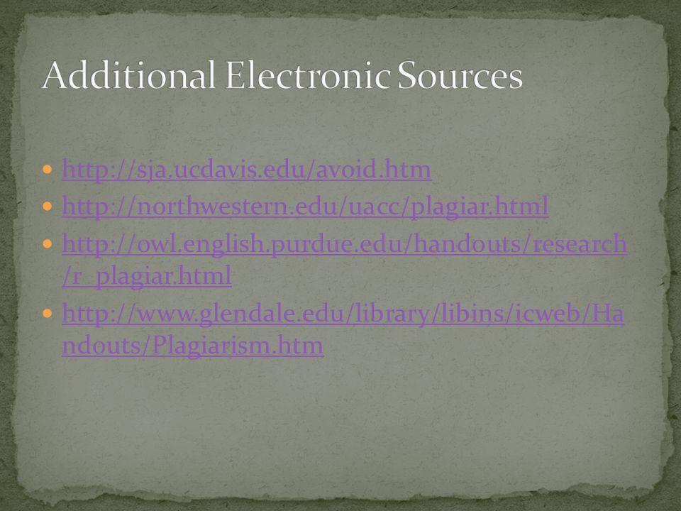 http://sja.ucdavis.edu/avoid.htm http://northwestern.edu/uacc/plagiar.html http://owl.english.purdue.edu/handouts/research /r_plagiar.html http://owl.english.purdue.edu/handouts/research /r_plagiar.html http://www.glendale.edu/library/libins/icweb/Ha ndouts/Plagiarism.htm http://www.glendale.edu/library/libins/icweb/Ha ndouts/Plagiarism.htm