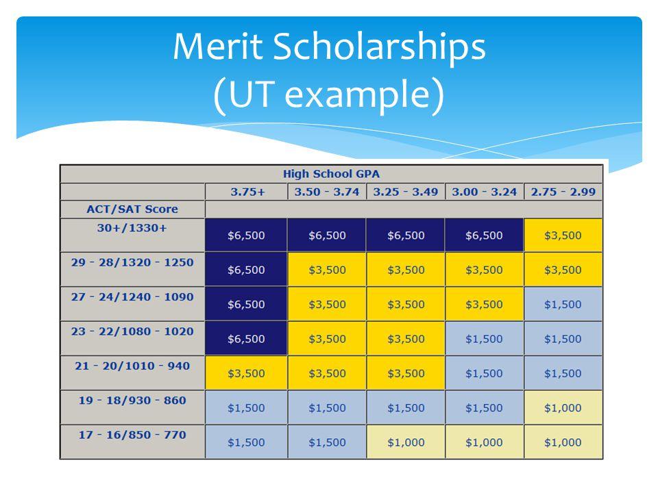 Merit Scholarships (UT example)