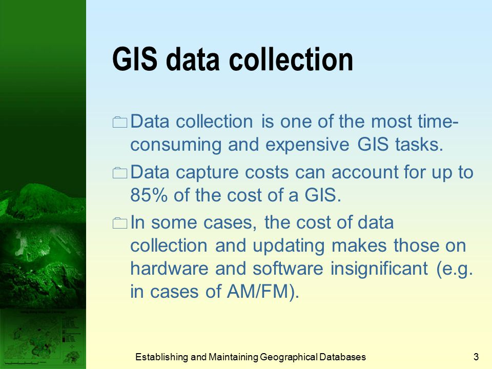 Data exchange using a standard Establishing and Maintaining Geographical Databases23 Program 2 Program 6 Program 3 Program 1 Program 5 Program 4 T T T T T T T T T T T T = Translator T T SDTS