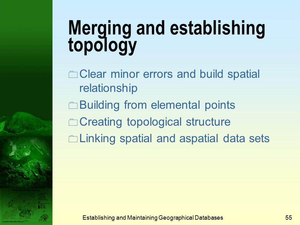 Establishing and Maintaining Geographical Databases54 Small area elimination MMU = 1 ha MMU = 9 ha *MMU = Minimum Mapping Unit