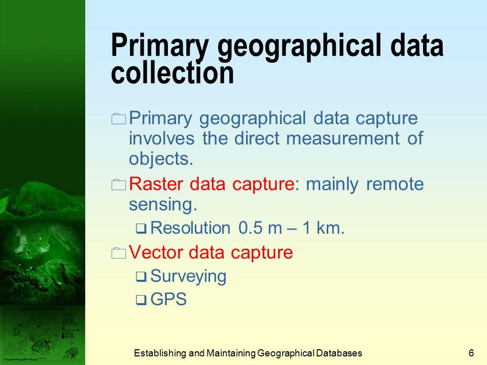 US NSDI Clearinghouse Establishing and Maintaining Geographical Databases16
