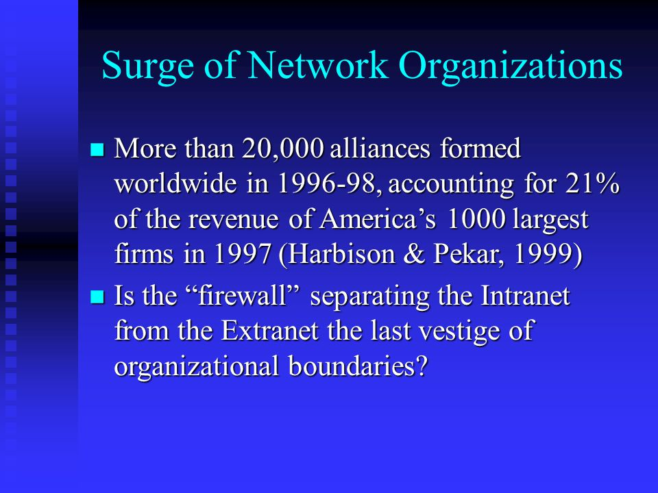 Surge of Network Organizations n More than 20,000 alliances formed worldwide in 1996-98, accounting for 21% of the revenue of America's 1000 largest firms in 1997 (Harbison & Pekar, 1999) n Is the firewall separating the Intranet from the Extranet the last vestige of organizational boundaries