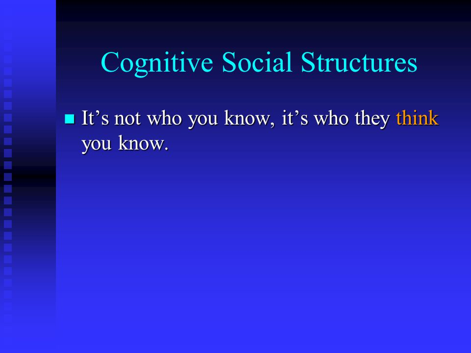 Cognitive Social Structures n It's not who you know, it's who they think you know.