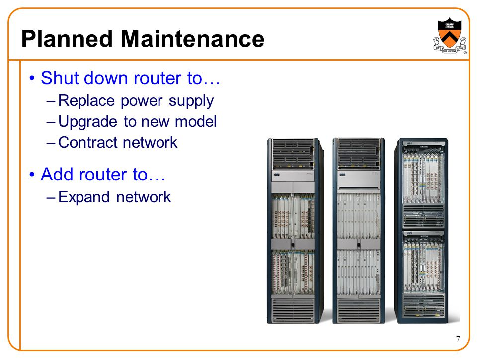 Planned Maintenance 7 Shut down router to… –Replace power supply –Upgrade to new model –Contract network Add router to… –Expand network