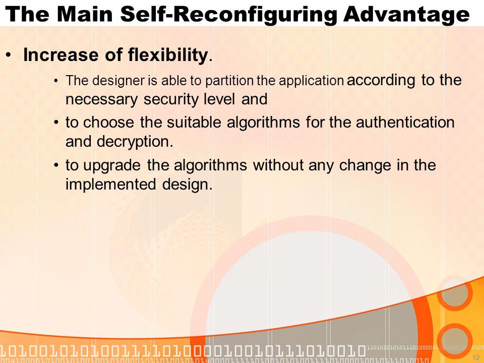 12 The Main Self-Reconfiguring Advantage Increase of flexibility.