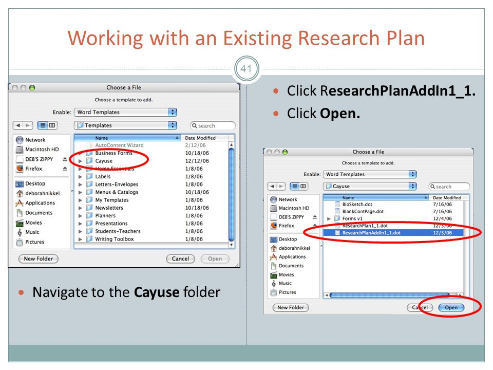Working with an Existing Research Plan 41 Click ResearchPlanAddIn1_1.