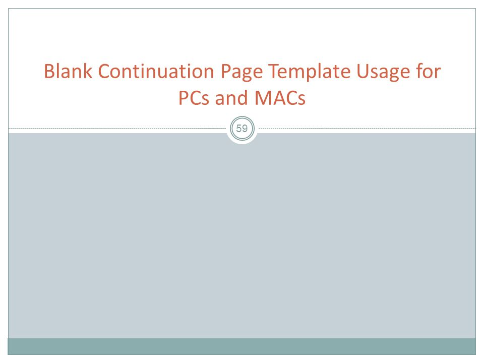59 Blank Continuation Page Template Usage for PCs and MACs