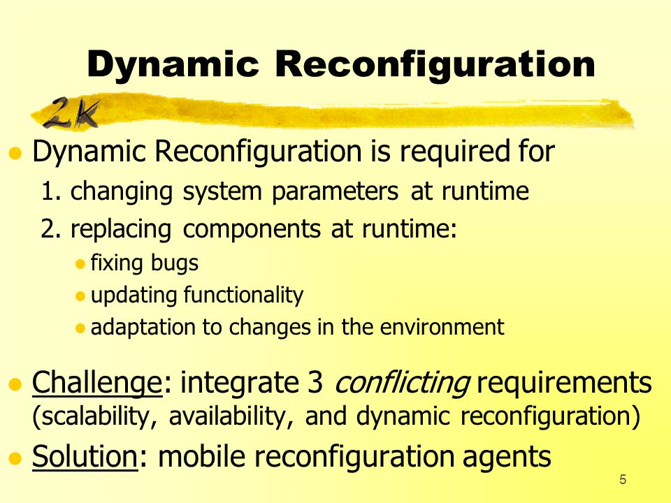 5 Dynamic Reconfiguration l Dynamic Reconfiguration is required for 1.