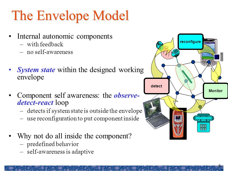 7 The Holon Model Each element has internal control loop that deals with a simple problem Several such systems can be combine and more general control mechanism can be used to control the complex system This can be done again and again to create more complex control Makes the use of formal methods practical since they can be applied to small problems Do not need to solve everything at first attempt Monitor reconfigure detect Monitor reconfigure detect