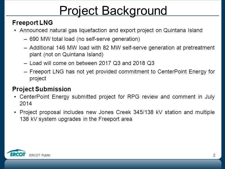 ERCOT Public 2 Freeport LNG Announced natural gas liquefaction and export project on Quintana Island –690 MW total load (no self-serve generation) –Ad