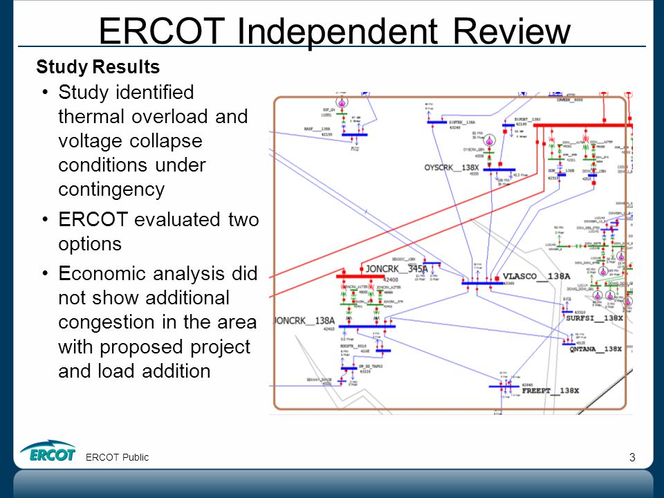 ERCOT Public 3 Study Results Study identified thermal overload and voltage collapse conditions under contingency ERCOT evaluated two options Economic