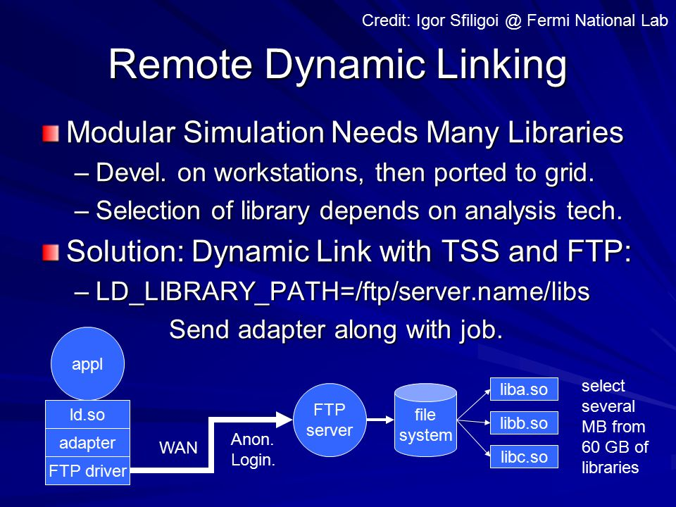 Remote Dynamic Linking appl adapter ld.so FTP server file system liba.so libb.so libc.so WAN Credit: Igor Sfiligoi @ Fermi National Lab FTP driver Modular Simulation Needs Many Libraries –Devel.
