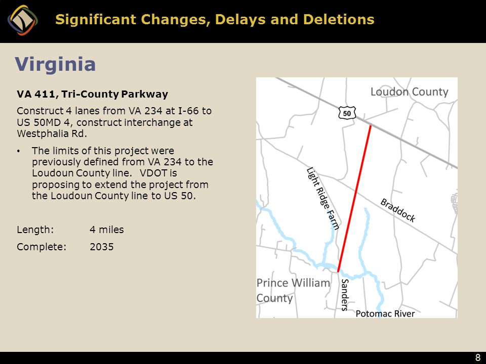 8 Significant Changes, Delays and Deletions VA 411, Tri-County Parkway Construct 4 lanes from VA 234 at I-66 to US 50MD 4, construct interchange at Westphalia Rd.