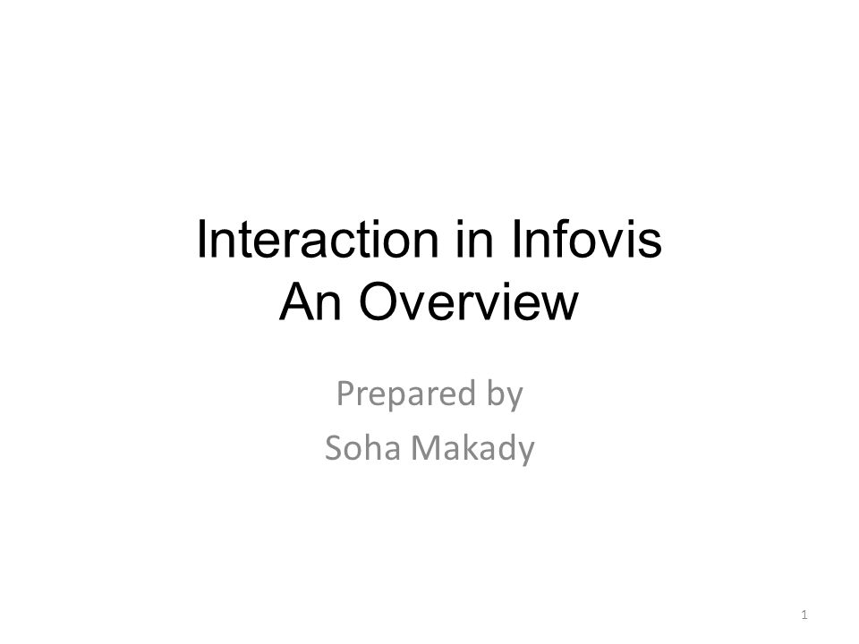 Interaction in Infovis An Overview Prepared by Soha Makady 1
