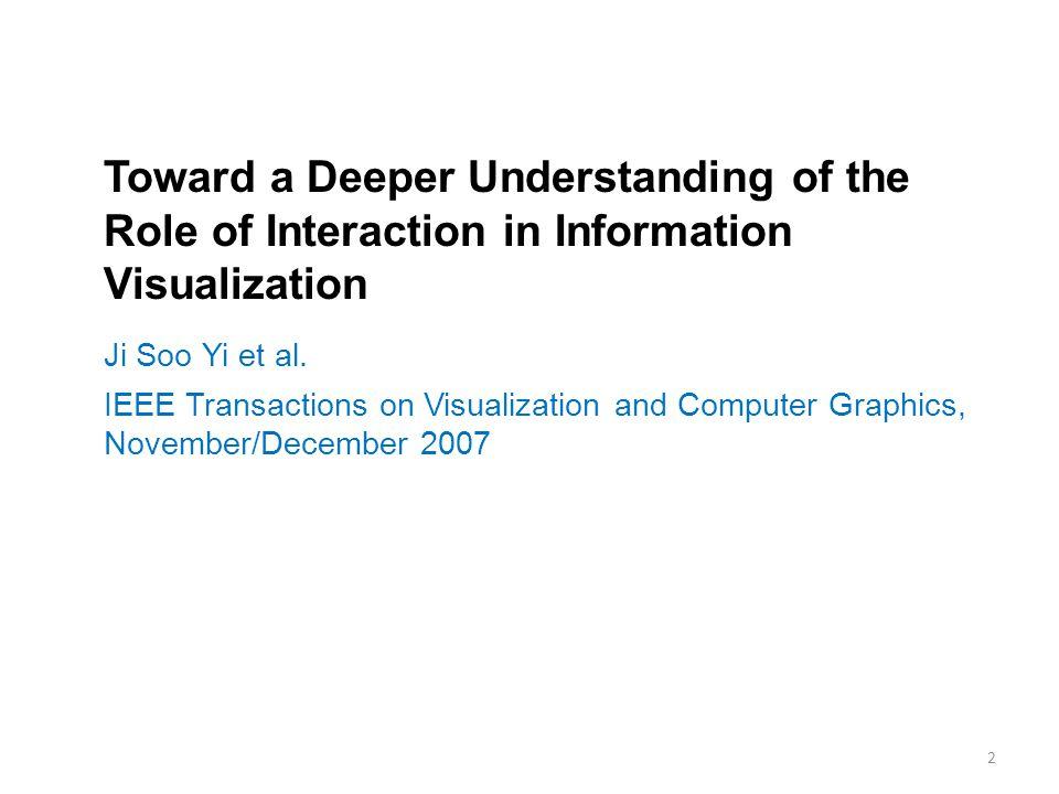 Toward a Deeper Understanding of the Role of Interaction in Information Visualization Ji Soo Yi et al.