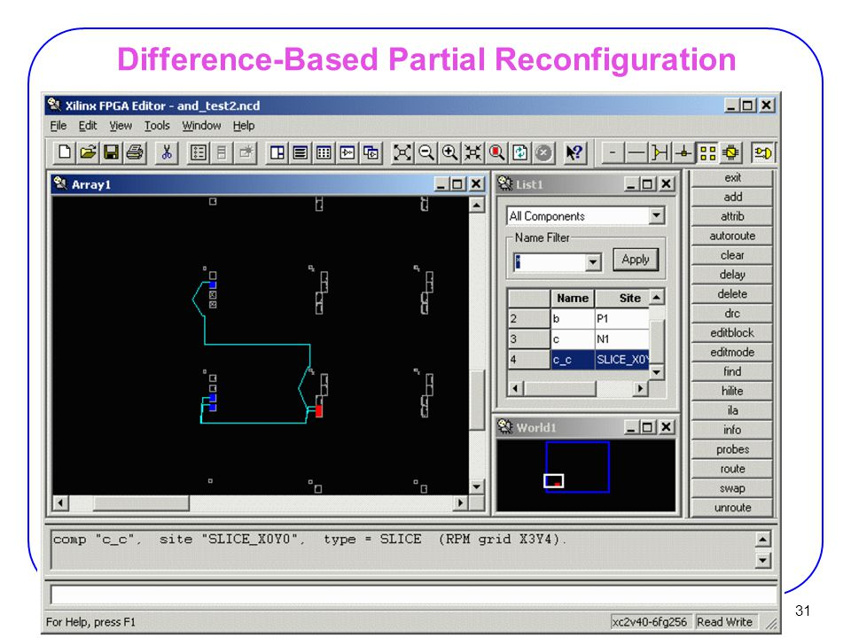 31 Difference-Based Partial Reconfiguration Viewing a block