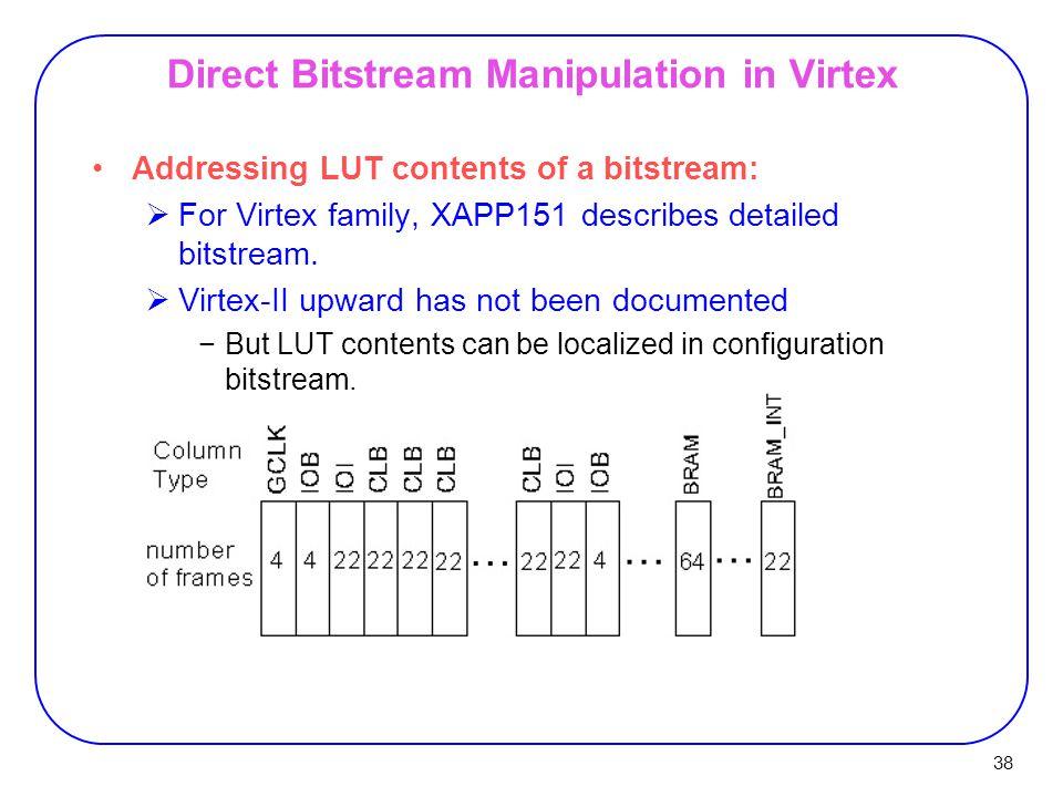 38 Direct Bitstream Manipulation in Virtex Addressing LUT contents of a bitstream:  For Virtex family, XAPP151 describes detailed bitstream.
