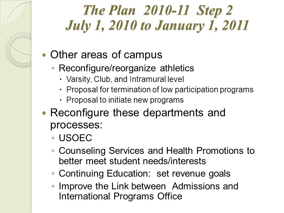 Other areas of campus ◦ Reconfigure/reorganize athletics  Varsity, Club, and Intramural level  Proposal for termination of low participation programs  Proposal to initiate new programs Reconfigure these departments and processes: ◦ USOEC ◦ Counseling Services and Health Promotions to better meet student needs/interests ◦ Continuing Education: set revenue goals ◦ Improve the Link between Admissions and International Programs Office The Plan 2010-11 Step 2 July 1, 2010 to January 1, 2011