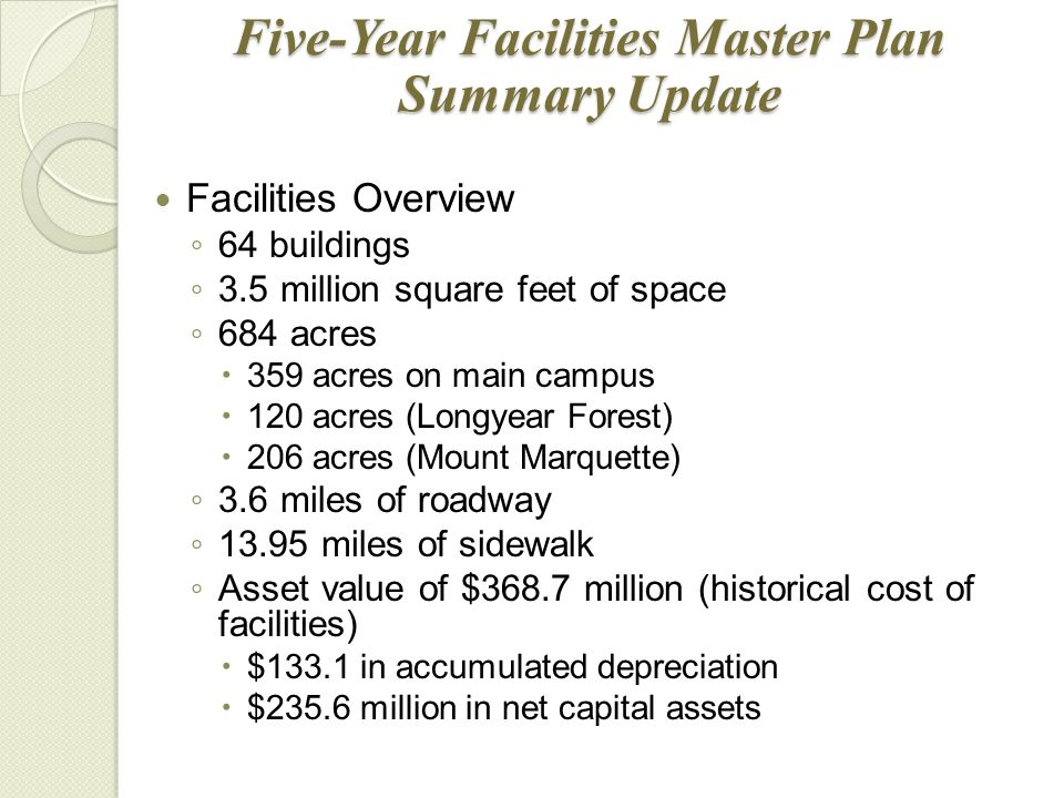 Five-Year Facilities Master Plan Summary Update Facilities Overview ◦ 64 buildings ◦ 3.5 million square feet of space ◦ 684 acres  359 acres on main campus  120 acres (Longyear Forest)  206 acres (Mount Marquette) ◦ 3.6 miles of roadway ◦ 13.95 miles of sidewalk ◦ Asset value of $368.7 million (historical cost of facilities)  $133.1 in accumulated depreciation  $235.6 million in net capital assets