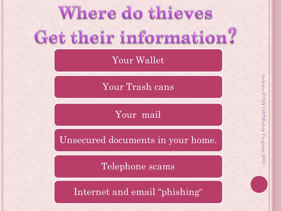 Your WalletYour Trash cansYour mailUnsecured documents in your home.Telephone scamsInternet and email phishing