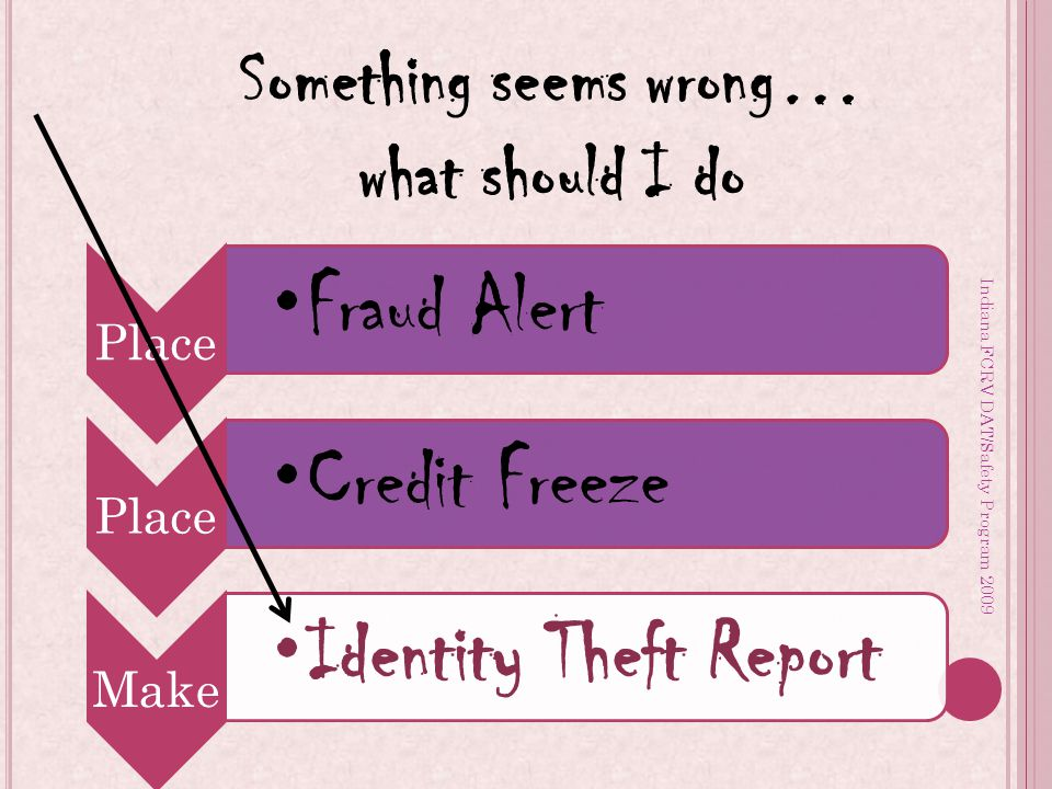 Indiana FCRV DAT/Safety Program 2009 Place Fraud Alert Place Credit Freeze Make Identity Theft Report Something seems wrong… what should I do