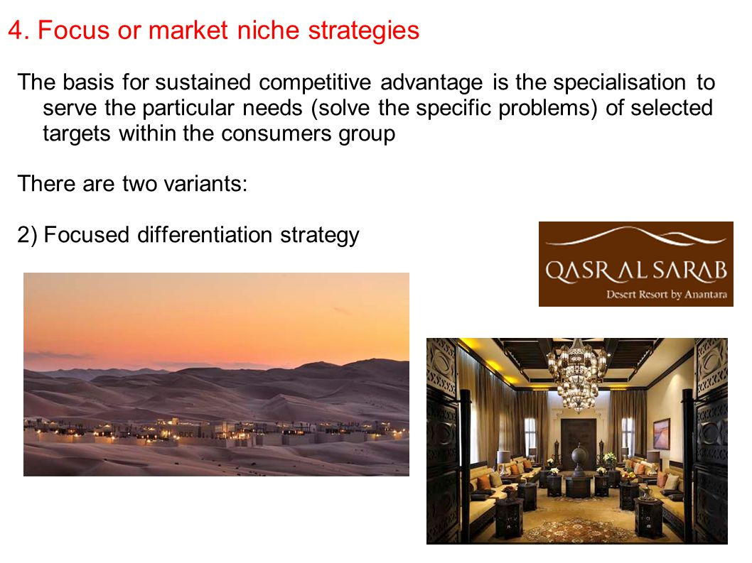 4. Focus or market niche strategies The basis for sustained competitive advantage is the specialisation to serve the particular needs (solve the speci