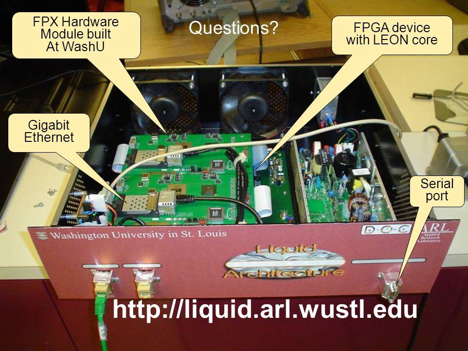 Questions? http://liquid.arl.wustl.edu FPX Hardware Module built At WashU Serial port Gigabit Ethernet FPGA device with LEON core