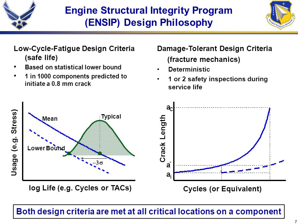 7 Engine Structural Integrity Program (ENSIP) Design Philosophy Low-Cycle-Fatigue Design Criteria (safe life) Based on statistical lower bound 1 in 1000 components predicted to initiate a 0.8 mm crack Damage-Tolerant Design Criteria (fracture mechanics) Deterministic 1 or 2 safety inspections during service life Both design criteria are met at all critical locations on a component log Life (e.g.