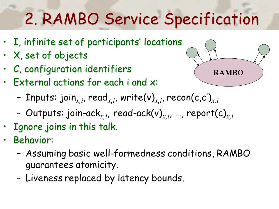 2. RAMBO Service Specification I, infinite set of participants' locationsI, infinite set of participants' locations X, set of objectsX, set of objects